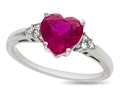 8x8mm Heart Shaped Created Ruby and Created White Sapphire Ring