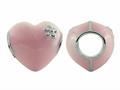 Storywheel® Pink Enamel Puffed Heart Bead / Charm