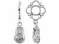 Storywheel® Created White Sapphire Baby Shoe Dangle Bead / Charm