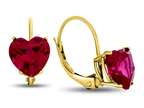 7x7mm Heart Shaped Created Ruby Lever-back Earrings Style number: E8119CRR14KY