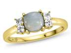 6x6mm Cushion Created Opal and White Topaz Ring Style number: R10567SPMUL910KY