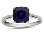 10k White Gold 7mm Cushion Created Sapphire Ring Style number: R1078305
