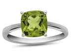10k White Gold 7mm Cushion Peridot Ring Style number: R1078308