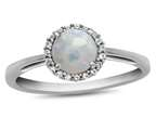 10k White Gold 6mm Round Created Opal with White Topaz accent stones Halo Ring Style number: R1079002