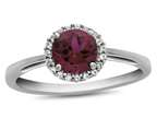 10k White Gold 6mm Round Created Ruby with White Topaz accent stones Halo Ring Style number: R1079004