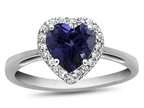 10kt White Gold 6mm Heart Shaped Created Sapphire with White Topaz accent stones Halo Ring Style number: R1079205