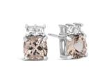 Finejewelers 10k White Gold 6mm Cushion-Cut Morganite with White Topaz Earrings style: E1056710