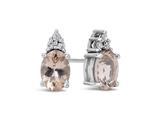 Finejewelers 10k White Gold 7x5mm Oval Morganite with White Topaz Earrings style: E1067810