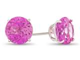 7x7mm Round Created Pink Sapphire Post-With-Friction-Back Stud Earrings style: E4043CRPS10KW