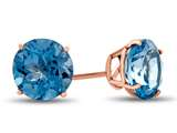 Finejewelers 14k Rose Gold 7mm Round Swiss Blue Topaz Post-With-Friction-Back Stud Earrings style: E4043SW14KR