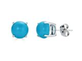 Finejewelers 14k White Gold 7mm Round Compressed Turquoise Stud Earrings style: E4043TQ14KW