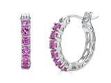 Finejewelers Sterling Silver Created Pink Sapphire Small Hoop Earrings style: E7370CRPS