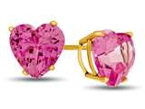 7x7mm Heart Shaped Created Pink Sapphire Post-With-Friction-Back Stud Earrings style: E7975CRPS10KY