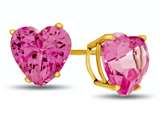 7x7mm Heart Shaped Created Pink Sapphire Post-With-Friction-Back Stud Earrings style: E7975CRPS14KY