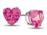 Finejewelers 7x7mm Heart Shaped Created Pink Sapphire Post-With-Friction-Back Stud Earrings style: E7975CRPS