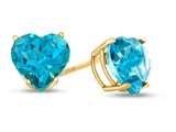 7x7mm Heart Shaped Coated Paraiba Topaz Post-With-Friction-Back Stud Earrings style: E7975PAR14KY