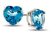 7x7mm Heart Shaped Swiss Blue Topaz Post-With-Friction-Back Stud Earrings style: E7975SW10KW