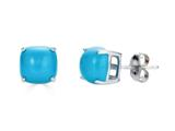 Finejewelers 10k White Gold 7x7mm Cushion-Cut Compressed Turquoise Stud Earrings style: E8053TQ10KW