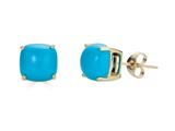 Finejewelers 10k Yellow Gold 7x7mm Cushion-Cut Compressed Turquoise Stud Earrings style: E8053TQ10KY