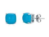 Finejewelers 14k White Gold 7x7mm Cushion-Cut Compressed Turquoise Stud Earrings style: E8053TQ14KW