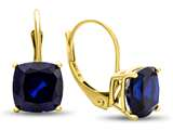 7x7mm Cushion Created Sapphire Lever-back Earrings style: E8117CRS10KY