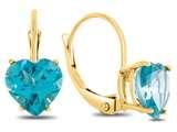 7x7mm Heart Shaped Coated Paraiba Topaz Lever-back Earrings style: E8119PAR10KY