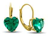 7x7mm Heart Shaped Simulated Emerald Lever-back Earrings style: E8119SIME10KY