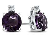 10k White Gold 7mm Round Amethyst with White Topaz Earrings style: E823700