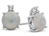 10k White Gold 7mm Round Created Opal with White Topaz Earrings style: E823702