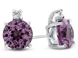 10k White Gold 7mm Round Created Pink Sapphire with White Topaz Earrings style: E823703