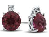10k White Gold 7mm Round Created Ruby with White Topaz Earrings style: E823704