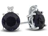 10k White Gold 7mm Round Created Sapphire with White Topaz Earrings style: E823705