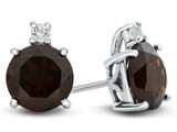 10k White Gold 7mm Round Garnet with White Topaz Earrings style: E823706