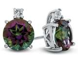 10k White Gold 7mm Round Mystic Topaz with White Topaz Earrings style: E823707