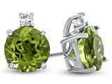 10k White Gold 7mm Round Peridot with White Topaz Earrings style: E823708