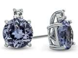10k White Gold 7mm Round Simulated Aquamarine with White Topaz Earrings style: E823710