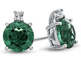 10k White Gold 7mm Round Simulated Emerald with White Topaz Earrings style: E823711