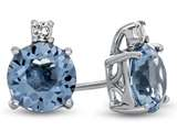 10k White Gold 7mm Round Swiss Blue Topaz with White Topaz Earrings style: E823712