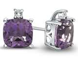 10k White Gold 7mm Cushion Amethyst with White Topaz Earrings style: E823800