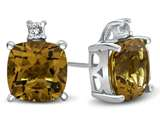 10k White Gold 7mm Cushion Citrine with White Topaz Earrings style: E823801