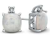 10k White Gold 7mm Cushion Created Opal with White Topaz Earrings style: E823802