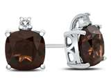 10k White Gold 7mm Cushion Garnet with White Topaz Earrings style: E823806