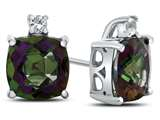 10k White Gold 7mm Cushion Mystic Topaz with White Topaz Earrings style: E823807