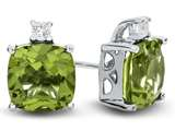 10k White Gold 7mm Cushion Peridot with White Topaz Earrings style: E823808