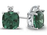 10k White Gold 7mm Cushion Simulated Emerald with White Topaz Earrings style: E823811