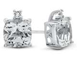 10k White Gold 7mm Cushion White Topaz Earrings style: E823813