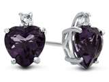 10k White Gold 7mm Heart Shaped Amethyst with White Topaz Earrings style: E824900
