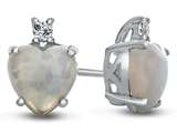 Finejewelers 10k White Gold 7mm Heart Shaped Created Opal with White Topaz Earrings style: E824902