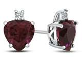 10k White Gold 7mm Heart Shaped Created Ruby with White Topaz Earrings style: E824904