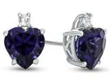 10k White Gold 7mm Heart Shaped Created Sapphire with White Topaz Earrings style: E824905